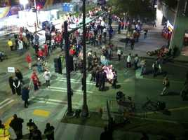 Fans leave the Mercedes-BenzSuperdome in New Orleans following the Ravens win.