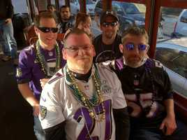 98 Rock listeners head the the station's live Super Sunday broadcast from the French Quarter.