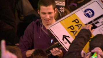 This fan carried the sign around for a bit.
