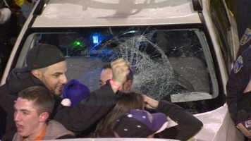 A few vehicles suffered broken windows.