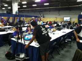 The media room inside the Superdome.