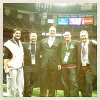 The 11 Sports crew after the big win: Photographer Jim Forner, Executive Sports Producer Chris Dachille, Sports Director Gerry Sandusky, Photographer Sean Smith and Sports reporter Pete Gilbert.