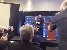 Joe Flacco and NFL Commissioner Roger Goodell at a post-Super Bowl press conference.
