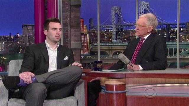 "Ravens quarterback Joe Flacco talks with David Letterman on ""The Late Show"" after winning the Super Bowl."
