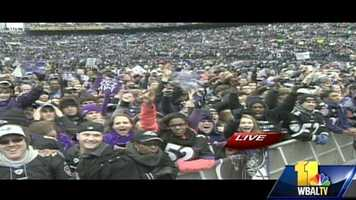 Baltimore hosts a victory parade for the Super Bowl champion Ravens, who drew hundreds of thousands of people to the city to help celebrate.