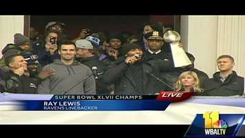 Super Bowl MVP Joe Flacco and Ray Lewis, the heart of the team, talk to the crowd.