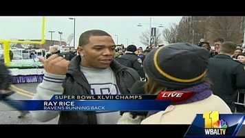"11 News reporter Deborah Weiner talks to Ray Rice as he gets off at the stadium.  Quote Ray: ""I just fell off the float, but I'm alright."""