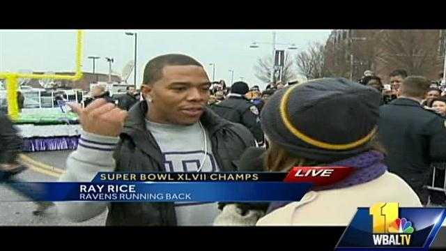 """11 News reporter Deborah Weiner talks to Ray Rice as he gets off at the stadium. Quote Ray: """"I just fell off the float, but I'm alright."""""""