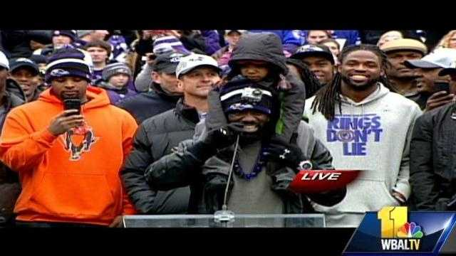 Ed Reed talks to fans at the Baltimore celebration at M&T Bank Stadium after the team's Super Bowl win.