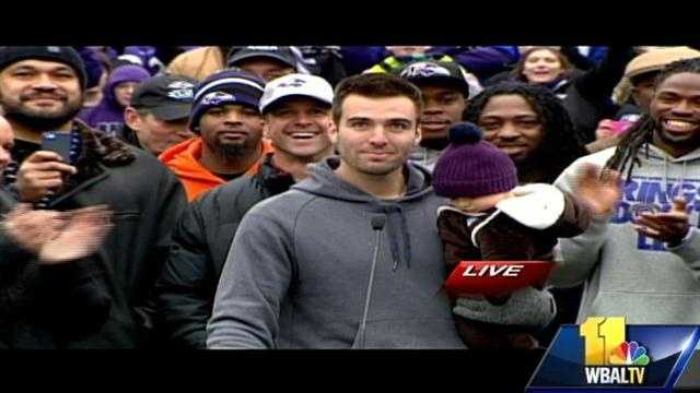 Ravens quarterback and Super Bowl MVP Joe Flacco spoke to fans in MandT Bank Stadium following the Super Bowl victory parade in Baltimore