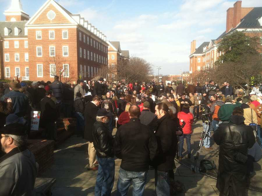 People attend a gun rights rally on Lawyer's Mall in Annapolis on Feb. 6.