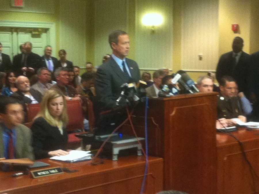 Gov. Martin O'Malley testifies about gun control legislation.