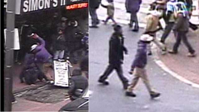 Police are looking for the man in the purple jacket and white hat in connection with a fatal stabbing during the Ravens victory parade.