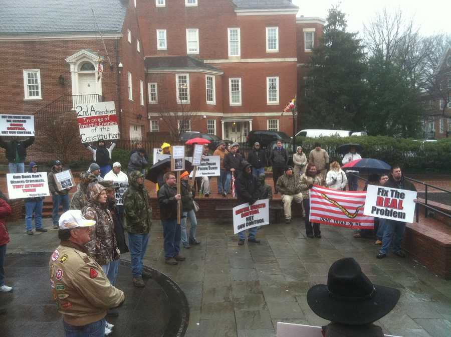 Gun rights advocates rally again in Annapolis on Feb. 8.