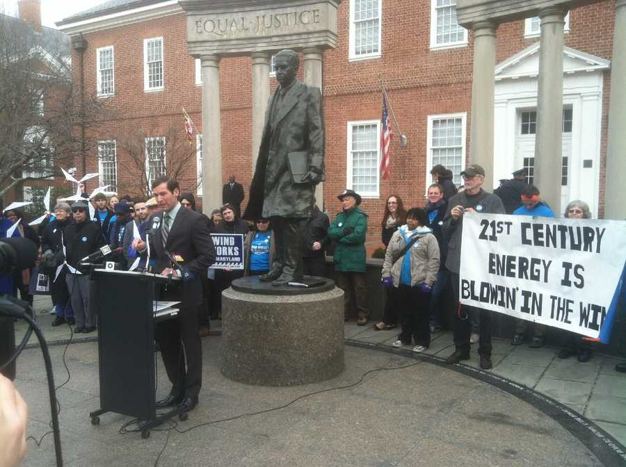 A group meets in front of Lawyer's Mall on Feb. 13 to advocate for the governor's wind energy bill.