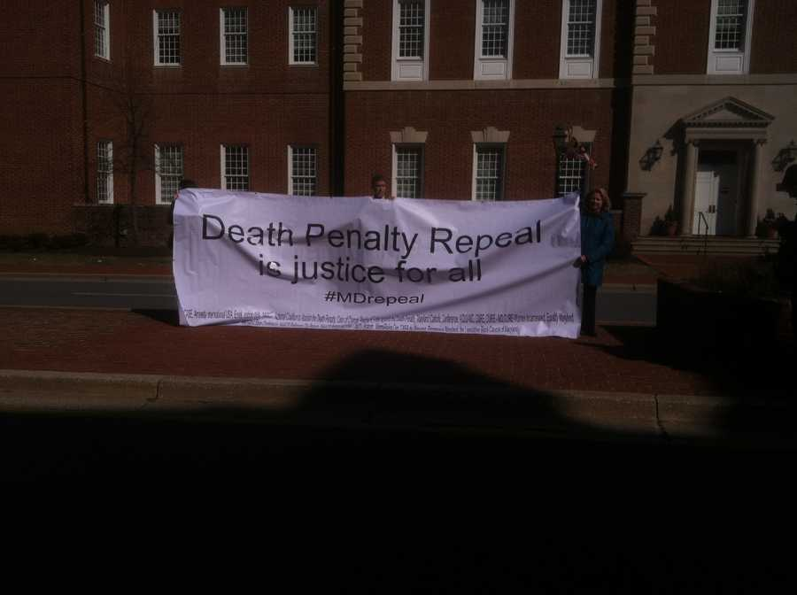 Death penalty abolitionists gather in Annapolis before a hearing Feb. 14.