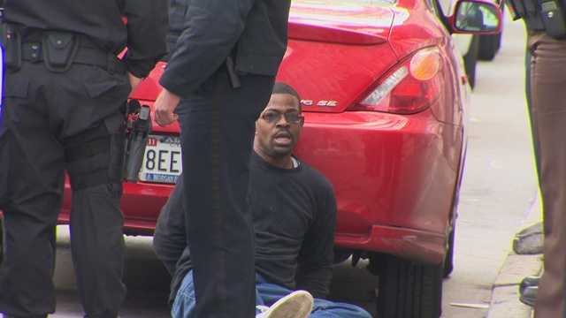 State and Baltimore City police and sheriff's deputies arrest a man after a 15-mile pursuit.