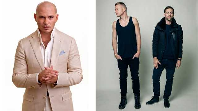 Pitbull (left) and Macklemore & Ryan Lewis will headline the 2013 Preakness InfieldFest.