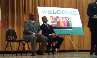City Council President Jack Young and Lt. Gov. Anthony Brown talked to the kids about the announcement.