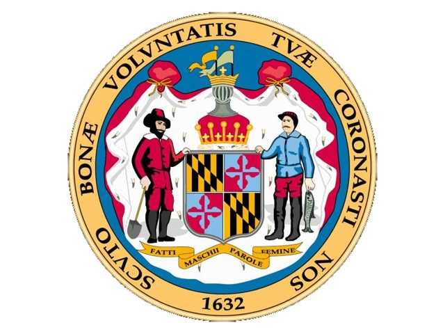 """The Great Seal of Maryland: The reverse side shows Lord Baltimore's """"escutcheon"""" or """"shield,"""" with figures of a farmer and a fisherman. The Italian scroll reads, """"Manly deeds, womanly words."""" The border is """"With favor wilt thou compass us as with a shield"""" (Psalms V, 12). The obverse side shows Lord Baltimore armed and mounted. -- Maryland Manual"""