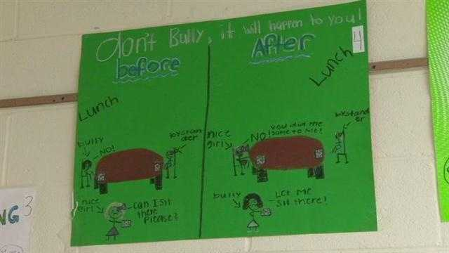 Baltimore County students make posters as part of their effort to battle bullying.