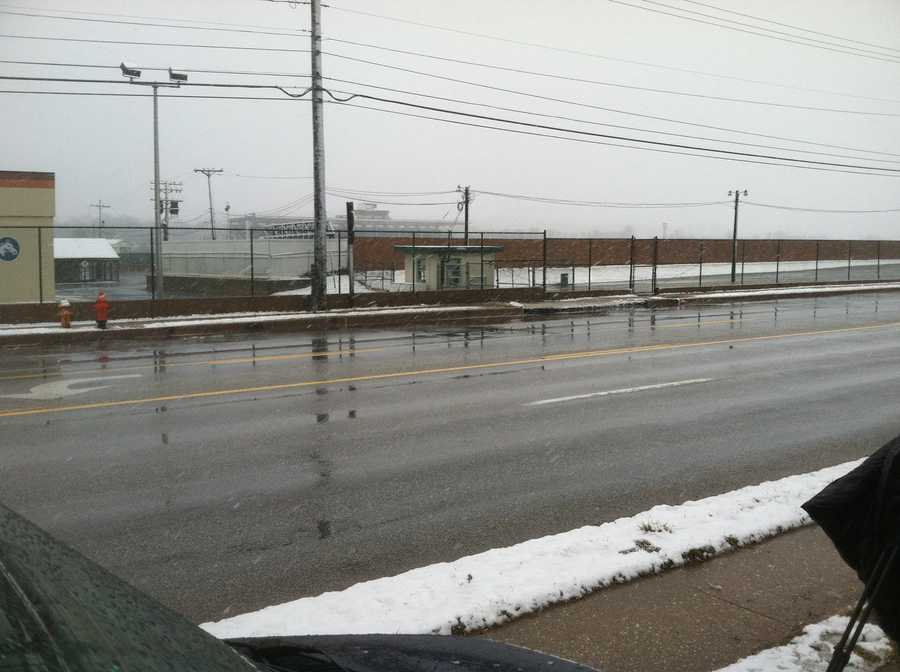 Southern Baltimore County wasn't too bad by 8 a.m. This shot was taken on York Road in Timonium.