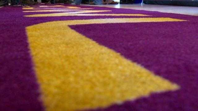 Instead of a red carpet, the VIPs got to walk the purple carpet.