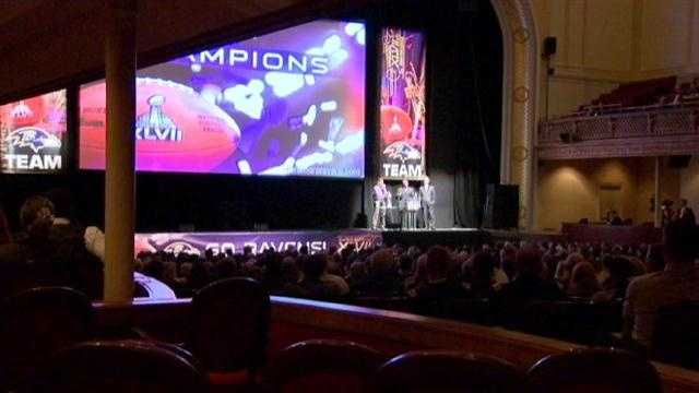 """Inside, fans, players and coaches were treated to the premiere of the film """"Baltimore Ravens: Super Bowl XLVII Champions,"""" which was produced by NFL Films."""