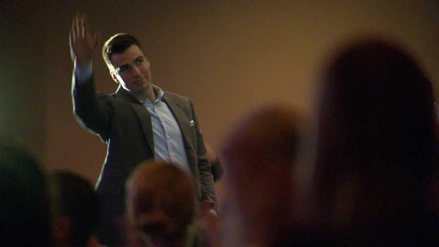Joe Flacco is introduced to the crowd.