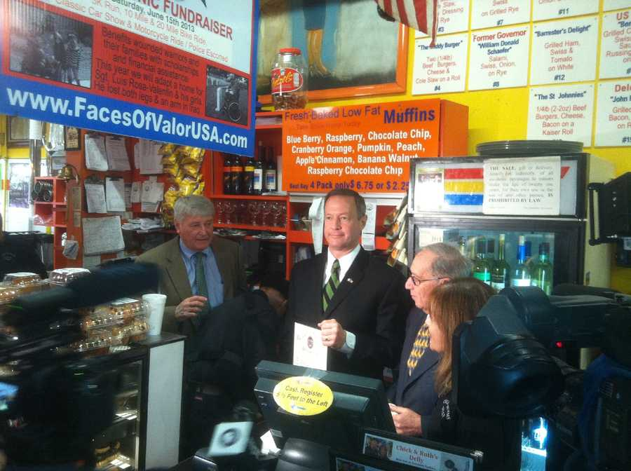Lou Davis was also honored by Gov. Martin O'Malley and other leaders at Chick & Ruth's deli on Main Street in Annapolis.