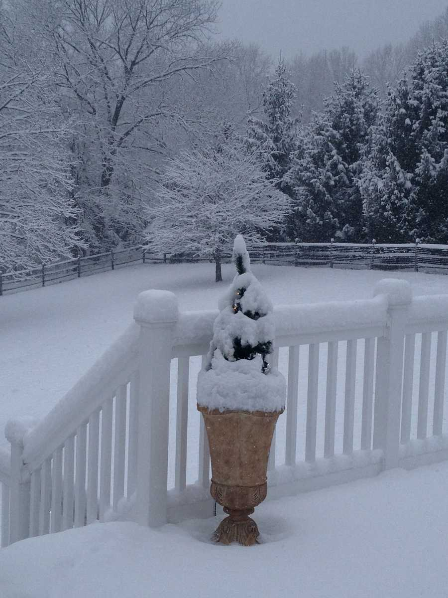 Snow covers Parkton in northern Baltimore County.