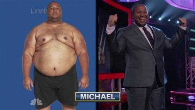 "Michael Dorsey shows off his 136-pound weight loss on ""The Biggest Loser."""