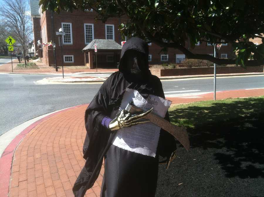 "March 29: ""The Grim Reaper"" visits Annapolis in support of gun rights."