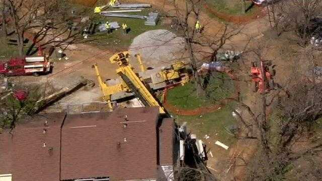 The incident happened around 11:15 a.m. near the area of Hilltop Circle and Walker Avenue in Catonsville, where construction is under way.