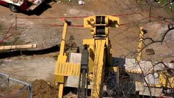 A crane on the campus of the University of Maryland, Baltimore County, toppled over Wednesday.
