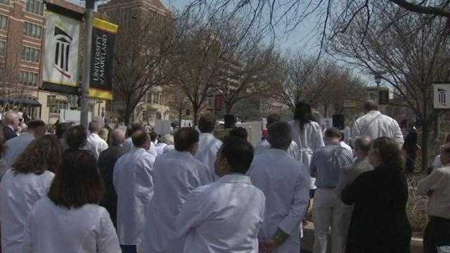The University of Maryland School of Medicine was one of 200 partnering organizations that took part in a rally Monday to help keep medical research and funding a national priority.