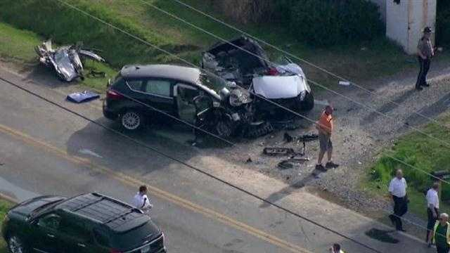 Four young men were killed and a 73-year-old man was injured in a two-car crash in Queen Anne's County on Wednesday afternoon.