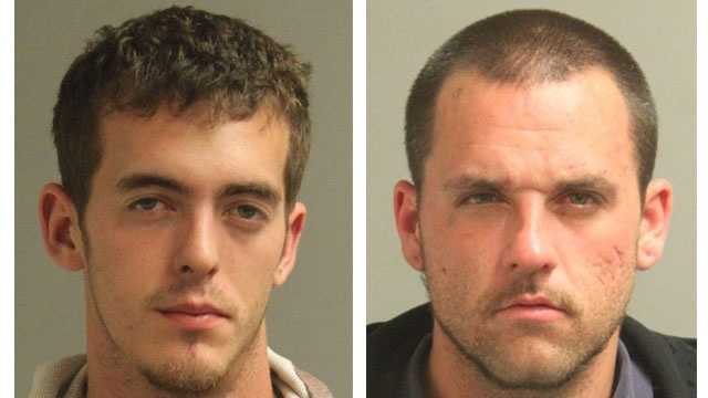 Police say 22-year-old Jerome Raymond Weber (pictured left) and 29-year-old Justin Anthony Russell (pictured right) were arrested in connection with armed robberies.