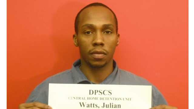 Maryland's Department of Public Safety and Correctional Services says 30-year-old Julian Watts cut off his ankle bracelet Sunday afternoon.