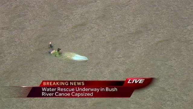 Bush River capsized canoe