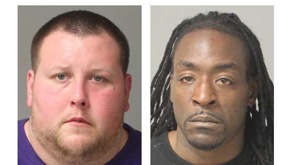 Police say Nicholas Alexander Rinehults, 29, (left) and Terrell Tavon Myers, 33, (right) were arrested and charged in connection with thefts.