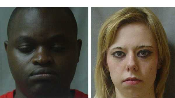 Police say Baltimore City police officer Lamin Manneh, 31, (left) and Marissa Braun, 19, were arrested on criminal charges including prostitution and human trafficking.