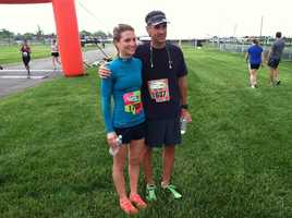 Jockey Forrest Boyce and trainer Tim Keefe at the finish line of the Preakness 5K