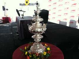 The trophy of the Preakness, the Woodlawn Vase
