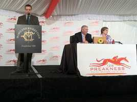 The Maryland Jockey Club begins the Preakness post position draw, randomly selecting positions for the horses in Saturday's race.