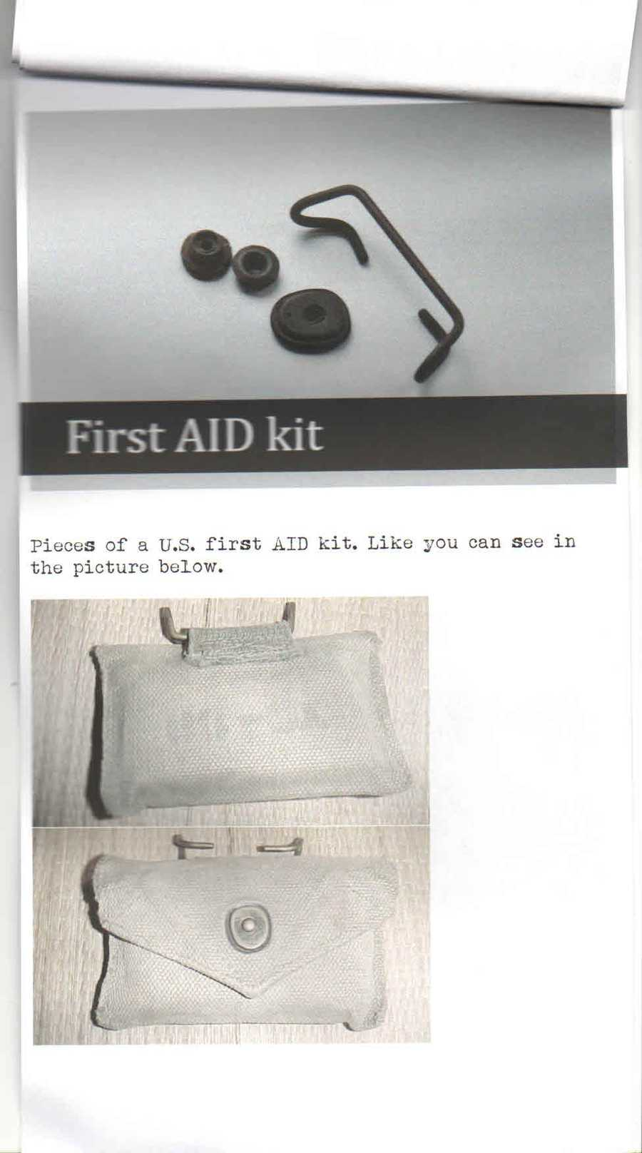 Allaert sent Clark's family detailed descriptions of the items in the shadow box. The top part of the photo is of pieces of a U.S. First Aid kit, like the one pictured at the bottom.