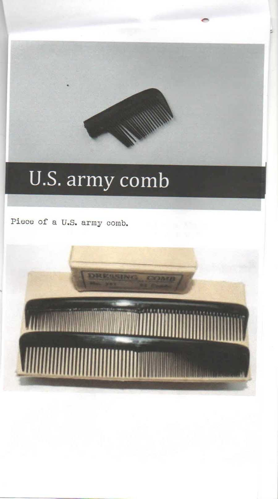 A piece of a U.S. Army comb.