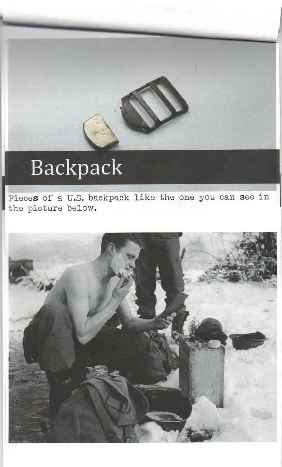 The top photo is of pieces of a U.S. backpack like the one pictured in the photo below it.