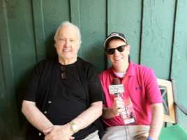 Titletown Five's co-owner, Paul Hornung, gets a photo with WBAL-AM reporter Scott Wykoff. Hornung, a former Green Bay Packers great, co-owns the horse with ex-teammate Willie Davis and trainer D. Wayne Lukas.