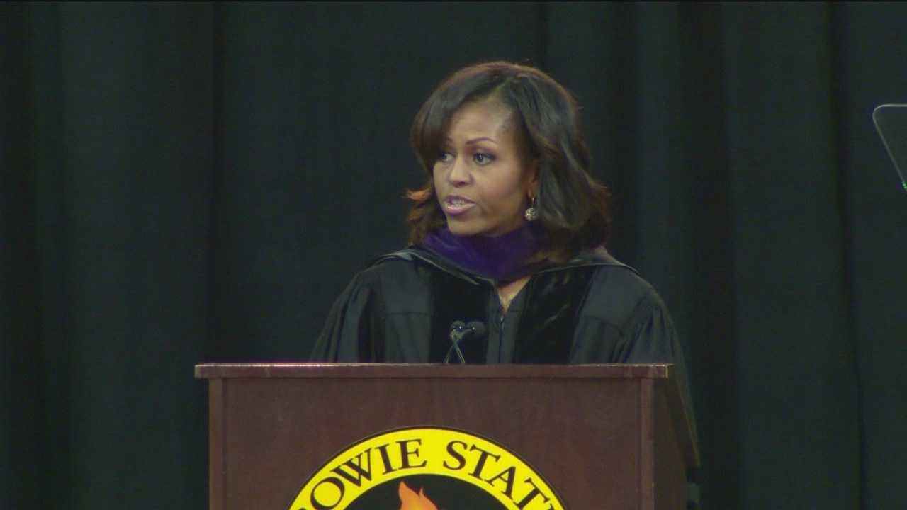First lady Michelle Obama is using an address to college students in Maryland to stress the importance of education to the black community.